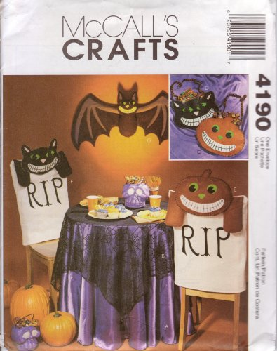 McCall's Sewing Pattern 4190 Halloween Crafts, Pumpkin, Bat, Cat, Decor & Treat -