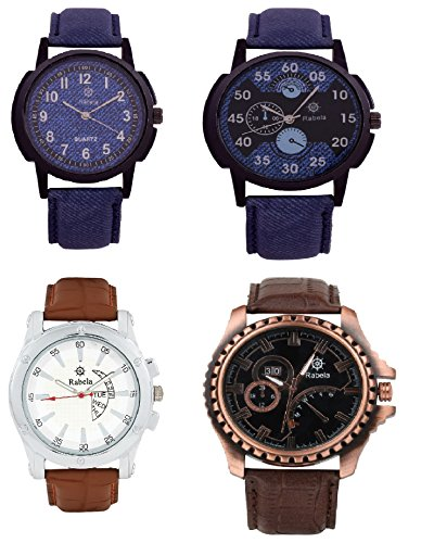 Rabela Analog 4 Watches Combo Pack Multi Colour Dial for Mens and Boys RABCMB401