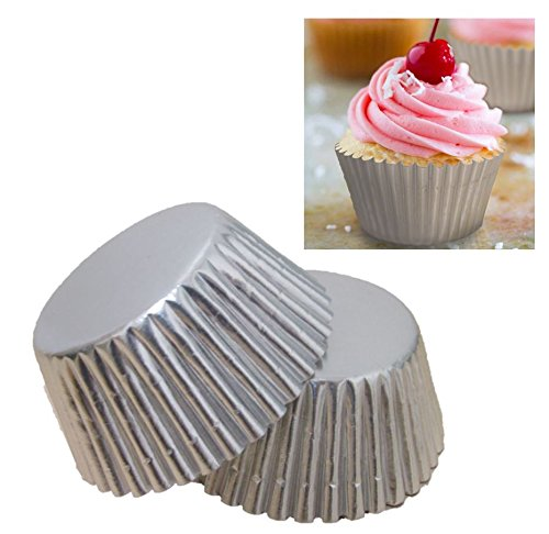 Premium Disposables 400 Silver Foil Cupcake Paper Baking Cups Metallic Muffin Liners Standard Size Cupcake Bakeware Supplies. by Premium Disposables (Image #1)