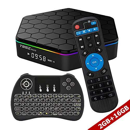 WISEWO Android 7.1 Smart TV Box Amlogic S912 Octa Core CPU 2GB/16GB UHD 4K2K 3D Sep Top Box Mini PC Media Player with Backlit Wireless Mini Keyboard