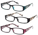 GAMMA RAY 3 Pairs Quality Readers Spring Hinge Reading Glasses - 2.75x