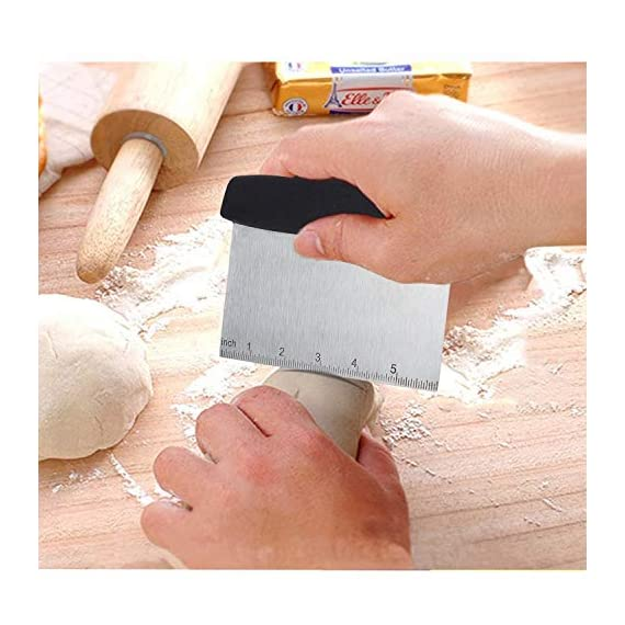 Tonsiki 4 Pieces Stainless Steel Pastry Cutter Set, Including Pastry Blender, Dough Scraper, Pastry Brush, Silicone… 7 【Professional Dough Blender】Made of stainless steel, so it will not break, bend or rust. This pastry blender with blades quickly cut butter or margarine into dry ingredients. The dough blender great for more than just cutting butter and scraping dough, it can also chop fruit and soft vegetables or nuts, mash up baby food, make sala and so on. Besides, the black soft-grip handle of the dough cutter absorbs pressure and won't spin or come loose in your hand. 【Dough Scraper】Scrape and cut bread dough with this stainless steel pastry cutter. Also,this dough scraper is useful to chop pizza dough. Healthy and safe. It can be combined with a blender to create delicious pastries or food. In addition, the grip of the dough cutter is comfortable non slip rubber handle with absorbs pressure. Cooking get easier. 【Pastry Brush】Pastry brush is made from 100% food grade silicone. The lightweight ergonomic handle is made from high quality green crystal for safe cooking. The brush has a long enough to avoid burns from hot oil during on barbecue. They are heat resistant up to 500⁰F, silicone brushes are premium quality and will not melt, warp, discolor, or shrink like regular plastic or wooden brushes. The bristles will not break or shed in your food like old brushes. Safe and durable.