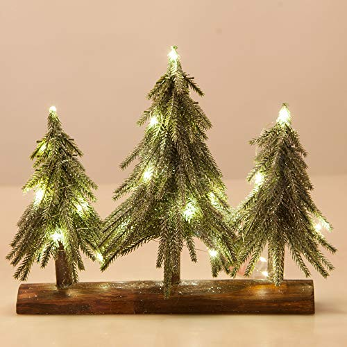 VGIA 3 Pack Mini Artificial Christmas Trees with Lights on a Wooden Base Silver Sequins Artificial Snow Flocked Christmas Trees (Wooden Large Christmas Tree)