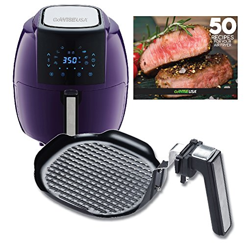 Cheap GoWISE USA 5.8-Quarts 8-in-1 Air Fryer XL + Insert Grill Pan with 50 Recipes for your Air Fryer Book (Plum + Grill Pan)