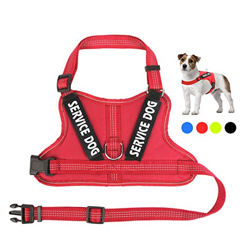 (Service Dog Vest Harness, No-Pull Reflective Service Dog Harness with 2 Removable Service Dog Patches - Soft Breathable Mesh Pet Halters Adjustable Outdoor Vest for Puppy Small Medium and Large Dogs)
