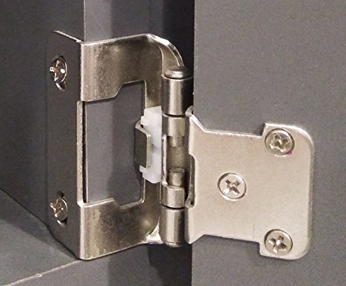 DecoBasics 1/2'' Overlay 3/4'' Frame Partial Semi Wrap Self-Closing Hinges, Satin Nickel, 25 Pairs (Sets) Pack by DecoBasics (Image #3)