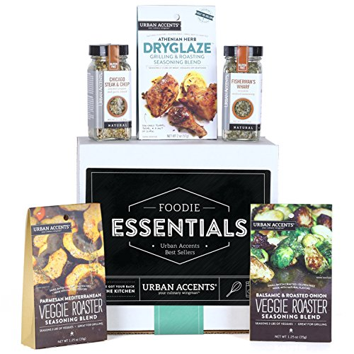 Urban Accents FOODIE ESSENTIALS Seasoning Gift Set (Set of 5) Gourmet Set of Grill Seasonings, Spices, Rubs and Dryglaze for Meats, Veggies and More- Perfect Gift for Any Occasion (Best Christmas Gifts For Foodies)
