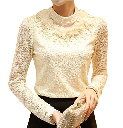 Minetome Femme Manches Longue Sexy Dentelle Casual Chiffon Ol Blouse Chemises Chemisier T-Shirts Tops