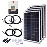 Cheap KOMAES 400 Watt 24 Volt Polycrystalline Solar Starter Kit with 40A MPPT Charge Controller, 4pcs 100W Waterproof Solar Panels