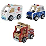 Wooden Wheels Heroes Pack: Natural Beech Wood Ambulance, Police Cruiser, and Fire Engine