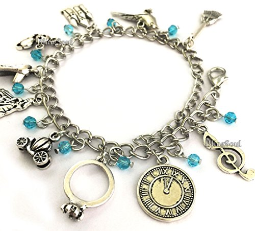 Disney Jewelry For Adults (BlingSoul Disney Cinderella Charm Bracelet Merchandise - Cinderella Costume Jewelry For Girls)