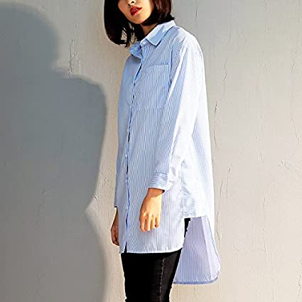 e9a0882a340 GAOLIM Spring Asymmetrical Blue and White Stripes Shirt Female Long Sleeve  Long Section Loose Large Size