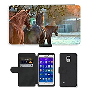 Super Stella Cell Phone Card Slot PU Leather Wallet Case // M00104998 Horses Sunset Landscape Nature // Samsung Galaxy Note 4 IV
