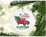 Christmas Decoration Tree Merry Christmas Ornament 2019 Clifford Pennsylvania Funny Gift Xmas Holiday As a Family Pretty Rustic First Christmas in Our New Home Ceramic 3' White