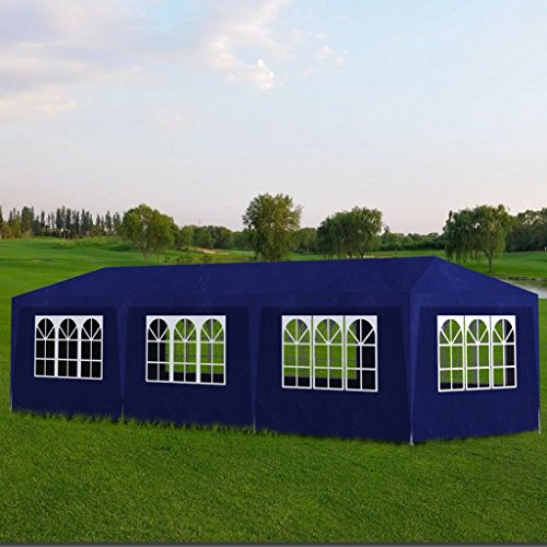 Blue Gazebo (Festnight 10' x 30' Outdoor Gazebo Canopy Wedding Party Tent with 8 Walls Blue)