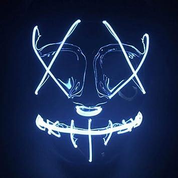 PROKTH 1pcs Disfraz la purga mujer Mascara led hombre Mascaras de la purga terror Mascaras de Halloween Azul hielo: Amazon.es: Bricolaje y herramientas