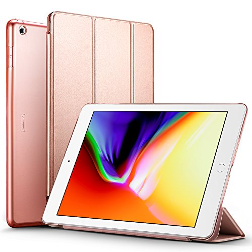 ESR-iPad-2017-iPad-97-inch-Case-Lightweight-Smart-Case-Trifold-Stand-with-Auto-SleepWake-Function-Microfiber-Lining-Hard-Back-Cover-for-Apple-iPad-97-inchRose-Gold