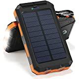 Solar Charger, 10000mAh Solar Power Bank Portable Battery Pack Cellphone Charger with 2 LED Flashlights, Solar Panel with Compass and Carabiner for IOS and Android Cellphones(Orange)