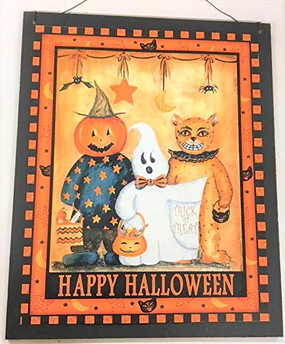 Happy Halloween Trick or treaters Pumpkin Head Ghost Wooden Fall Wall Decor Sign -