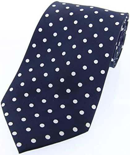 Navy/White Polka Dot Silk Twill Tie by David Van Hagen