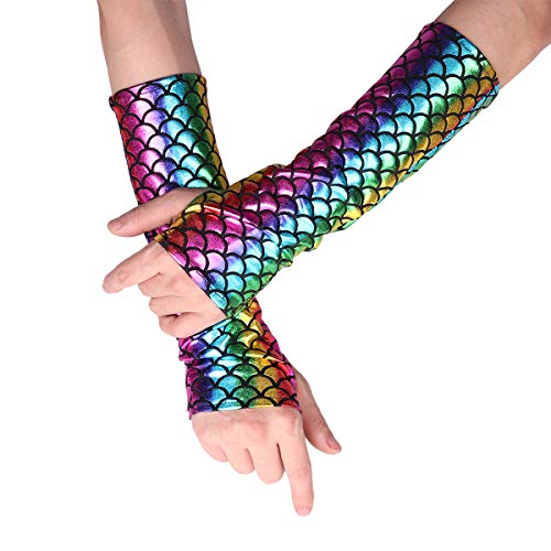 YiZYiF Shimmery Mermaid Gloves Fish Scale Fingerless Long Gloves Arm Sleeves Halloween Carnival Masquerade Costume Accessory Colorful One Size