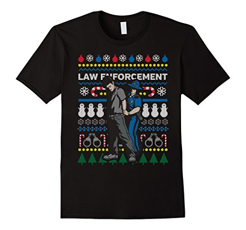 Men's Ugly Christmas Sweater Police T-shirt