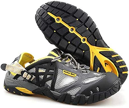 ワーキングシューズ男性と女性のための水陸両用速乾性の釣りの靴が適用されます、通気性のゴムでフロントを助けるためにハイキングシューズローキングハイキングアウトドアメッシュアウトドアシューズ ポータブル (色 : Grey yellow, Size : US7)