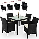 Rattan Garden Furniture Dining Table Set Patio Rectangular Frosted Glas Table 4 Seater Black Polyrattan