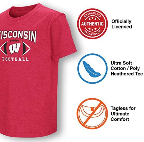 Colosseum Wisconsin Badgers Youth NCAA First Down T-Shirt Red