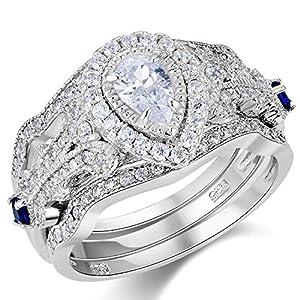 Wuziwen Wedding Engagement Ring Set for Women Sterling Silver 3pcs 2.3Ct Pear Cz Blue Sapphire Size 7
