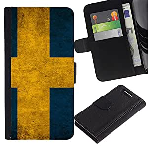 Billetera de Cuero Caso Titular de la tarjeta Carcasa Funda para Sony Xperia Z1 Compact D5503 / Sweden Flag / STRONG