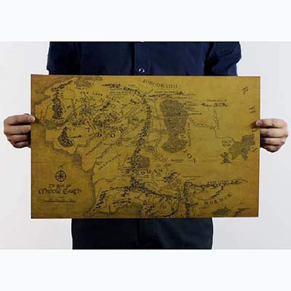 RENNICOCO Carte de la Terre du Milieu Le Seigneur des Anneaux Kraft Papier Affiche Salon D/écor Amovible
