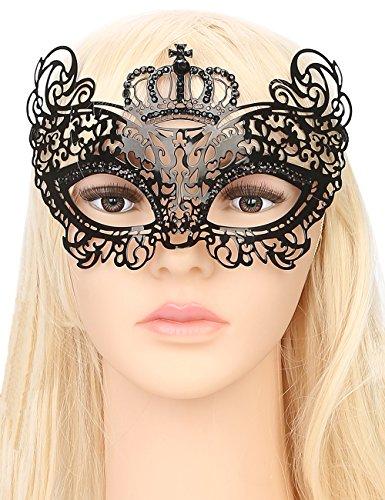 WINK KANGAROO Women's Laser Cut Metal Venetian Pretty Crown style Masquerade Masks