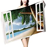 UHOO2018 Baby Bath Towel Personalized for ations Gazebo Theme s Palm Tree Fabric Beach House withWooden Windows and Pan Print Wrap Towels W 10'' x L 39.5''