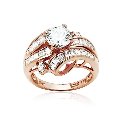 - Rose Gold Flashed Sterling Silver Cubic Zirconia Channel Set Triple Row Fashion Ring, Size 6