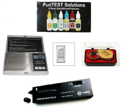 Pro Scrap Jewelry Organizer Kit-PuriTEST Box of Test Acids, Digital Diamond Tester, Electronic Jewelry Scale, Magnifying Glass, and Free Solid Silver Bar
