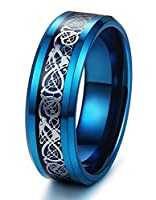 Tungary 8mm Tungsten Rings for Men Wedding Engagement Band Dragon Blue Beveled Edge Size 6-14