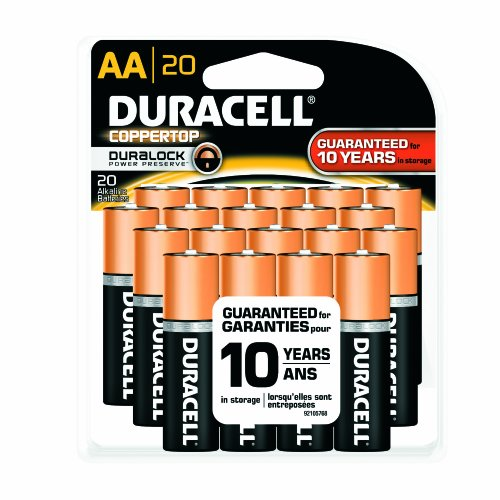 Duracell MN15RF20Z22 CopperTop Alkaline-Manganese Dioxide Battery Mega Pack, AA Size, 1.5V (Pack of 20)