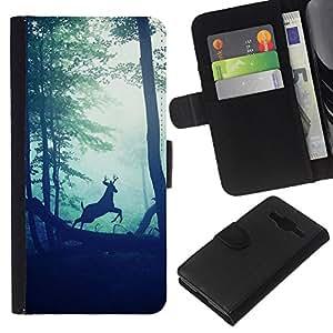 KLONGSHOP // Tirón de la caja Cartera de cuero con ranuras para tarjetas - bosque viñeta ciervos sol naturaleza mañana - Samsung Galaxy Core Prime //