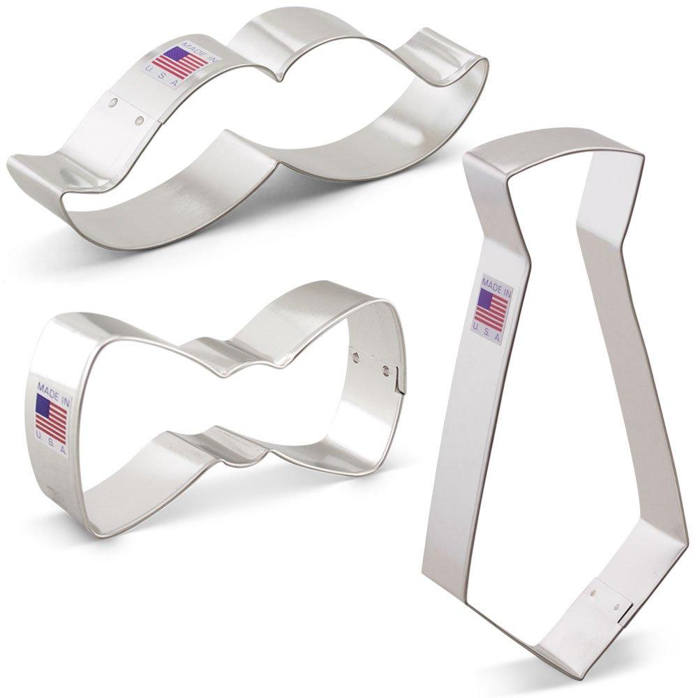 Little Man Cookie Cutter Set - 3 piece - Bow Tie, Mustache and Necktie - Ann Clark - Tin Plated Steel