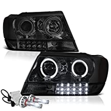 VIPMotoZ 1999-2004 Jeep Grand Cherokee Projector Headlights - Built In Cree LED Low Beam, Metallic Chrome Housing, Smoke Lens, Dual Halo Ring & Daytime Running Lamp Strips, Driver and Passenger Side