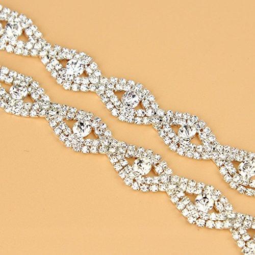 De.De. 1 Yard Elegant Crystal Clear Glass Rhinestone Applique Bridal Trim/Chain Silver by DE