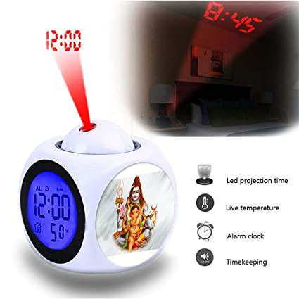 Projection Alarm Clock Talking LED Bedroom Data and Temperature Wall