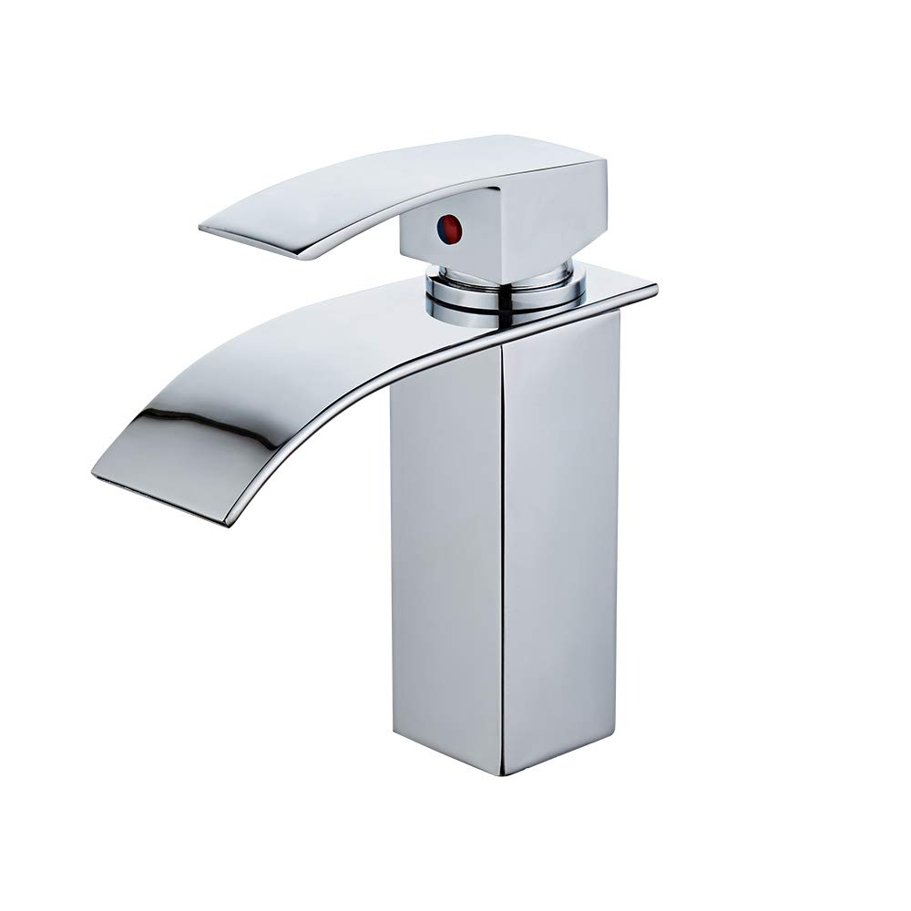 Sccot Waterfall Bathroom Sink Faucet, Brass Flat Mouth Waterfall Basin Mixer Tap Single Lever Mixer Faucet for Bathroom Basin Sink, Chrome Finish