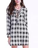 Auxo Women Lace Up Dress Flannel Plaid Shirt Long Sleeve Deep V Neck Mini Club Dresses Black XL