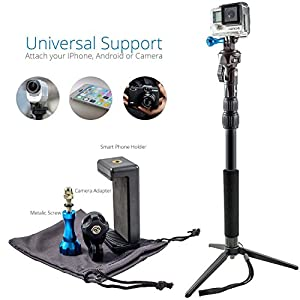 Nomadic Gear Waterproof Selfie Stick and Tripod: Professional Quality, Universal support for GoPro, Sony Action Camera, Garmin, Ricoh Action Cam, SJCAM, iPhone and Android, Free GoPro Ebook Guide!