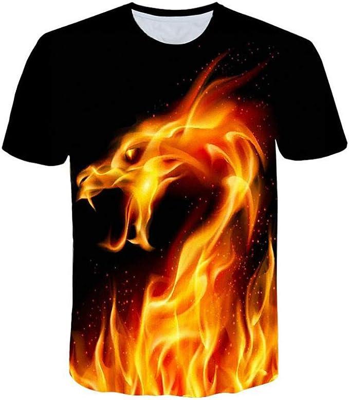 XuanhaFU Camisetas Hombre Fénix de Fuego de Impresión Manga Cortos Verano Moda Polos Personalidad Casual Remera Slim Camisas de Deporte: Amazon.es: Ropa y accesorios