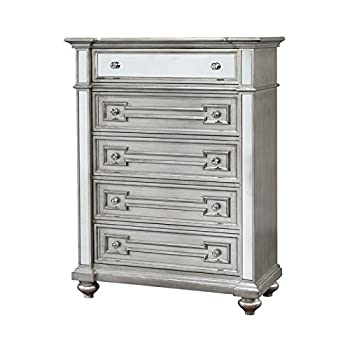 Furniture of America Farrah 5 Drawer Mirrored Chest in Silver