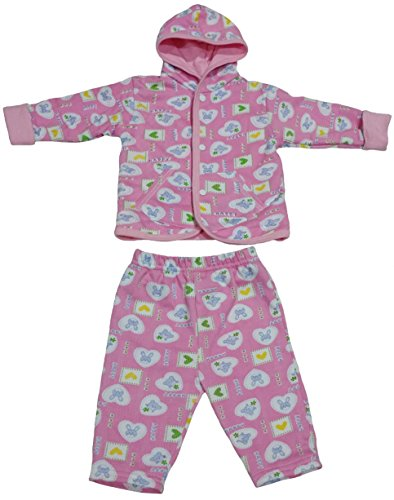 TenTeeTo Baby Girl Clothes Set for Newborn or Infant with Pants and Jacket Pink (3-6 Months, Pink/Bear/Bunny) - Add On Items Ropa