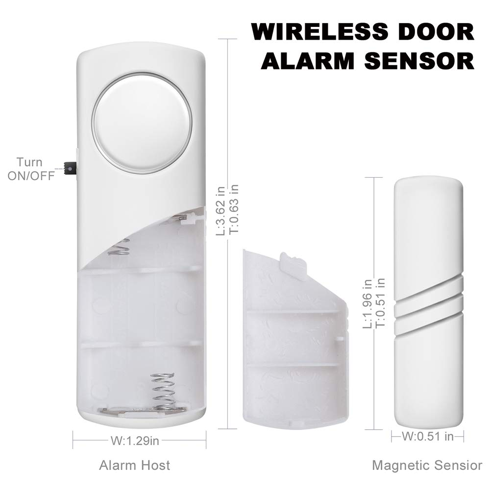 Dorm Garage Professional Wireless Home Security System 2PCS Window Door Alarm Kids Safety 90dB Loud Magnetic Entry Motion Sensor Alarm for Anti-Theft Apartment RV and Office